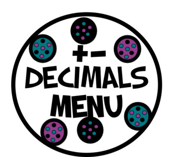 Adding and Subtracting Decimals Menu