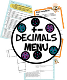 Adding and Subtracting Decimals Menu