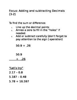 Adding and Subtracting Decimals Notes