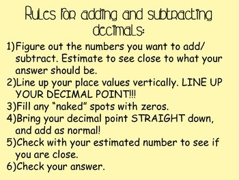 Adding and Subtracting Decimals Notes and Activity