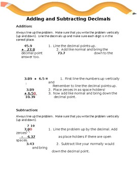 Adding and Subtracting Decimals Notes and Worksheet