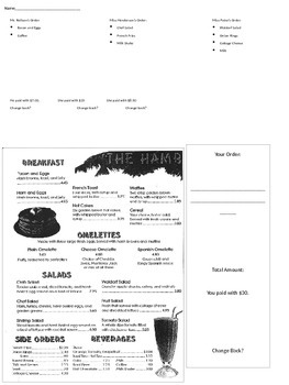 Adding and Subtracting Decimals - Notes from a Menu