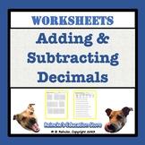 Adding & Subtracting Decimals Worksheet Packet