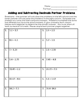 Adding and Subtracting Decimals Partner Problems