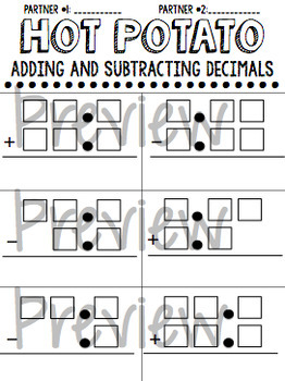 Adding and Subtracting Decimals Partner Work Template {hot potato}