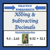 Adding and Subtracting Decimals Practice Worksheets