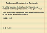Adding and Subtracting Decimals Presentation