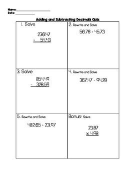 Adding and Subtracting Decimals Quiz