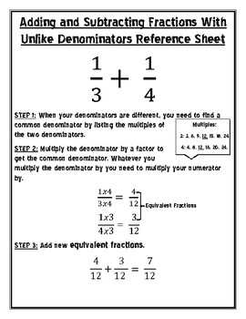 Adding and Subtracting Decimals Reference Sheet