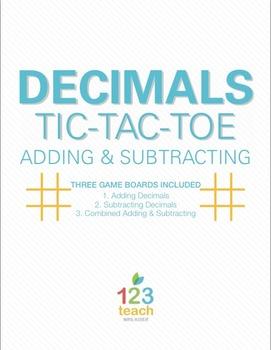 Adding and Subtracting Decimals Review Activity - Partner Tic Tac Toe