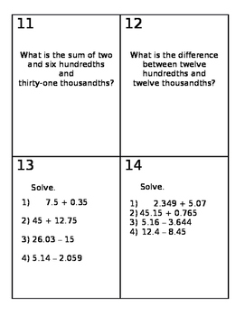 Adding and Subtracting Decimals Review Cards