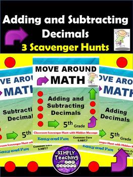 Adding and Subtracting Decimals Scavenger Hunt Bundle of 3 Games