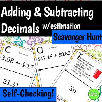 Adding and Subtracting Decimals Scavenger Hunt Activity