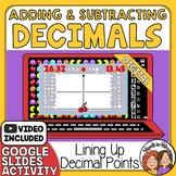 Adding and Subtracting Decimals Self-Checking Google Slide