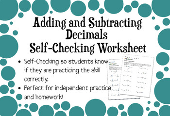Adding and Subtracting Decimals Self-Checking Worksheet