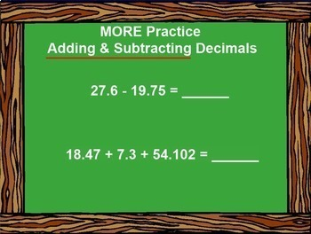 Adding and Subtracting Decimals Add Subtract Decimal Smartboard Lesson