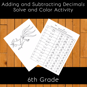 Adding and Subtracting Decimals Solve and Color Activity