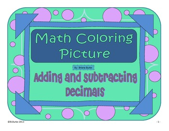 Adding and Subtracting Decimals - Spider Picture