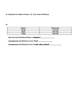 Adding and Subtracting Decimals Study Guide