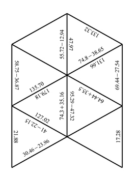 Adding and Subtracting Decimals Tarsia Puzzle