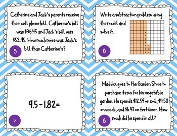 Adding and Subtracting Decimals Task Cards