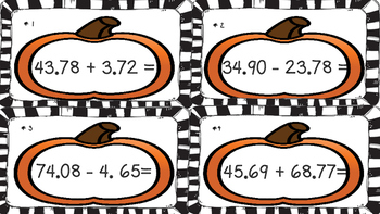Adding and Subtracting Decimals Task Cards 4.4A