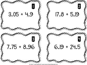 Adding and Subtracting Decimals Task Cards (CCSS 5.NBT.B.7)