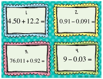 Adding and Subtracting Decimals Task Cards Set #2