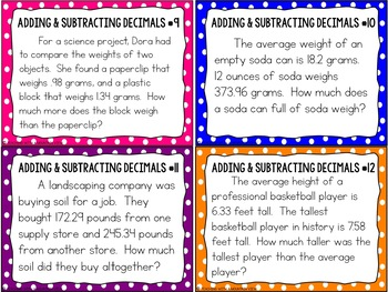 Adding and Subtracting Decimals Task Cards Word Problems