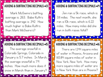 math worksheet : adding and subtracting decimals task cards word problems  tpt : Adding Decimals Word Problems