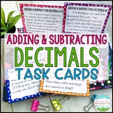 Adding and Subtracting Decimals Task Cards Word Problems | Distance Learning