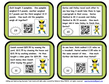 Adding and Subtracting Decimals Task Cards with QR Codes