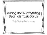 Adding and Subtracting Decimals Task Cards with Visuals