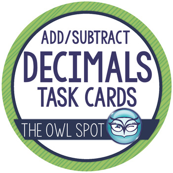 Adding and Subtracting Decimals Task Cards with Word Problems Test Prep