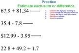 Adding and Subtracting Decimals Topic 2