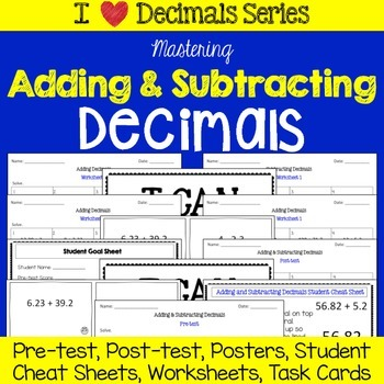 Adding and Subtracting Decimals Unit -Tests, Cheat Sheet, Worksheets, Task Cards