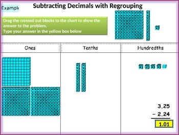 Adding and Subtracting Decimals Using Base Ten Blocks in PPT