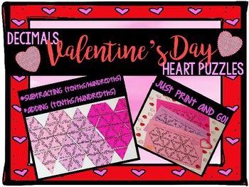 Adding and Subtracting Decimals Valentine's Day Heart Puzzle Math Center