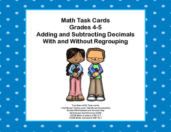 Adding and Subtracting Decimals-With and Without Regroupin