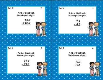 Adding and Subtracting Decimals-With and Without Regrouping-Tenths & Hundredths