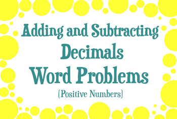 Adding and Subtracting Decimals Word Problems