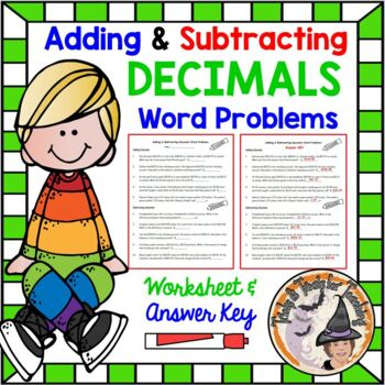 Adding and Subtracting Decimals Word Problems with KEY Add Subtract Decimals