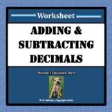 Adding and Subtracting Decimals Worksheet