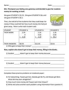 Adding and Subtracting Decimals Worksheet