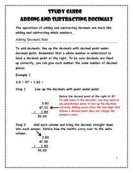 Decimals Addition and Subtraction Worksheets and Quick Guide