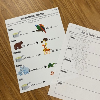 Adding and Subtracting Decimals at the Zoo!