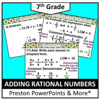 (7th) Adding Rational Numbers in a PowerPoint Presentation