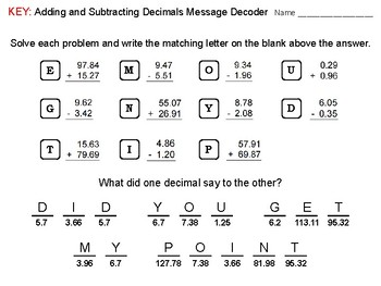 Adding and Subtracting Decimals in the Hundredths Place: Math Message Decoder