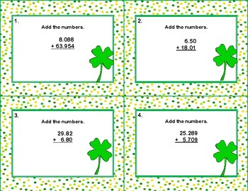 Adding and Subtracting Decimals to the Thousandths-Grades 5-6-40 Task Cards