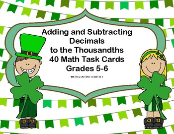 Adding and Subtracting Decimals  to the Thousandths-Grades